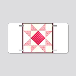 Hearts of Love Quilt Square Aluminum License Plate
