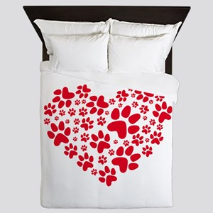 red heart with paws, animal foodprint Queen Duvet