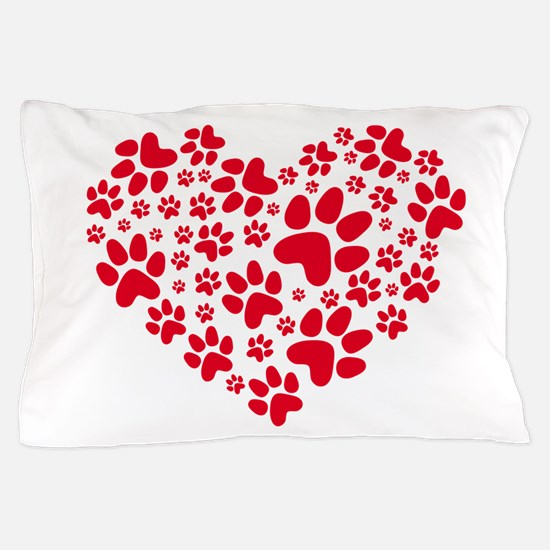 red heart with paws, animal foodprint Pillow Case