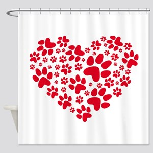 red heart with paws, animal foodpri Shower Curtain