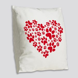 red heart with paws, animal fo Burlap Throw Pillow