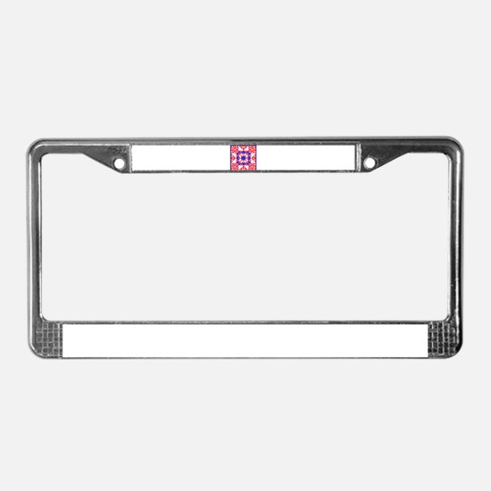 Red White Blue Floral and Dot License Plate Frame