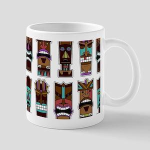 Tiki Mask Pattern White Mugs