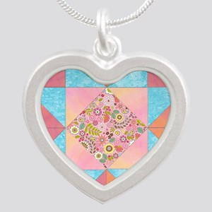 Sunset and Water Quilt Squ Necklaces