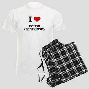 I love Polish Greyhounds Men's Light Pajamas