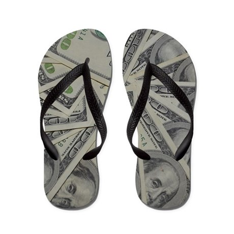 20ee84201e93e9 swirl hundred dollar bills Flip Flops by Admin CP13506533