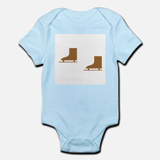 Brown Ice Skates Infant Bodysuit