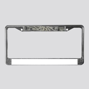 swirl hundred dollar bills License Plate Frame