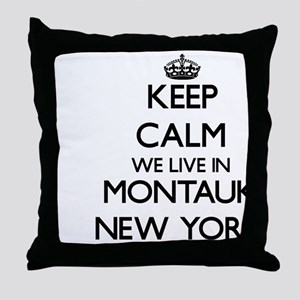 Keep calm we live in Montauk New York Throw Pillow
