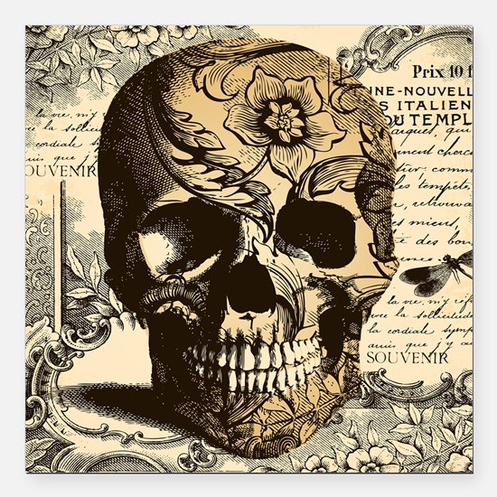 "Unique Skull Square Car Magnet 3"" x 3"""