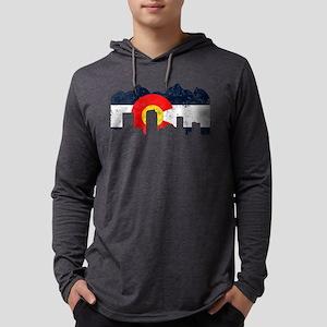 Denver, Colorado Flag Distressed Long Sleeve T-Shi