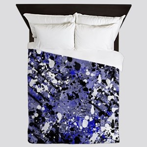 Blue, Black and White Abstract Queen Duvet