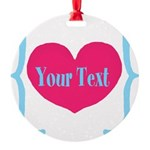 Personalizable Pink Turquoise Heart Ornament