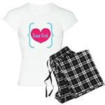 Personalizable Pink Turquoise Heart Pajamas