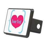 Personalizable Pink Turquoise Heart Hitch Cover
