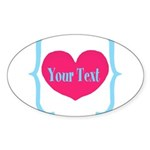 Personalizable Pink Turquoise Heart Sticker