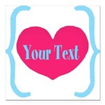 Personalizable Pink Turquoise Heart Square Car Mag