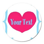 Personalizable Pink Turquoise Heart Round Car Magn