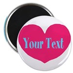 Personalizable Pink Turquoise Heart Magnets