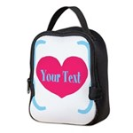 Personalizable Pink Turquoise Heart Neoprene Lunch