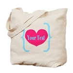 Personalizable Pink Turquoise Heart Tote Bag