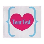 Personalizable Pink Turquoise Heart Throw Blanket