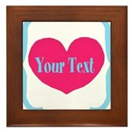 Personalizable Pink Turquoise Heart Framed Tile