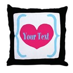Personalizable Pink Turquoise Heart Throw Pillow