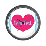 Personalizable Pink Turquoise Heart Wall Clock