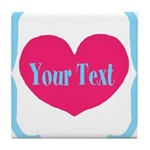 Personalizable Pink Turquoise Heart Tile Coaster