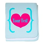 Personalizable Pink Turquoise Heart baby blanket