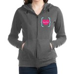 Personalizable Pink Turquoise Heart Women's Zip Ho