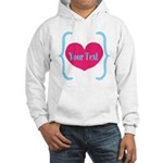 Personalizable Pink Turquoise Heart Hoodie
