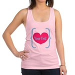 Personalizable Pink Turquoise Heart Racerback Tank