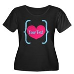 Personalizable Pink Turquoise Heart Plus Size T-Sh