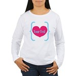 Personalizable Pink Turquoise Heart Long Sleeve T-