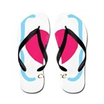 Pink Turquoise Coffee Love Flip Flops