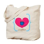 Pink Turquoise Coffee Love Tote Bag