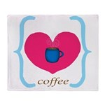 Pink Turquoise Coffee Love Throw Blanket