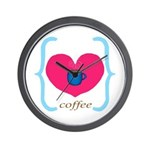 Pink Turquoise Coffee Love Wall Clock