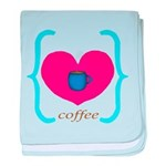 Pink Turquoise Coffee Love baby blanket