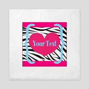 Personalizable Pink Zebra Queen Duvet
