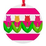 Tulips on Pink & White Stripes Ornament