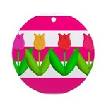 Tulips on Pink & White Stripes Ornament (Round)