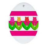Tulips on Pink & White Stripes Ornament (Oval)