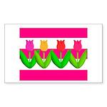 Tulips on Pink & White Stripes Sticker