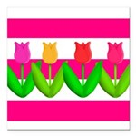 Tulips on Pink & White Stripes Square Car Magnet 3