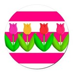 Tulips on Pink & White Stripes Round Car Magnet