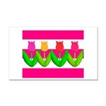 Tulips on Pink & White Stripes Rectangle Car Magne