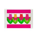 Tulips on Pink & White Stripes Magnets